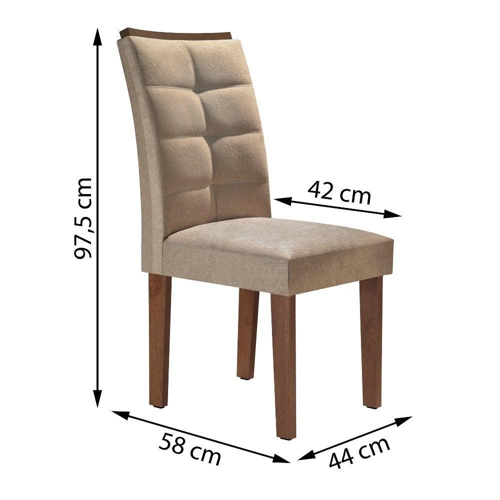 Sala de Jantar Canyon Tampo Slim com 6 Cadeiras Villa Rica  Cel Móveis