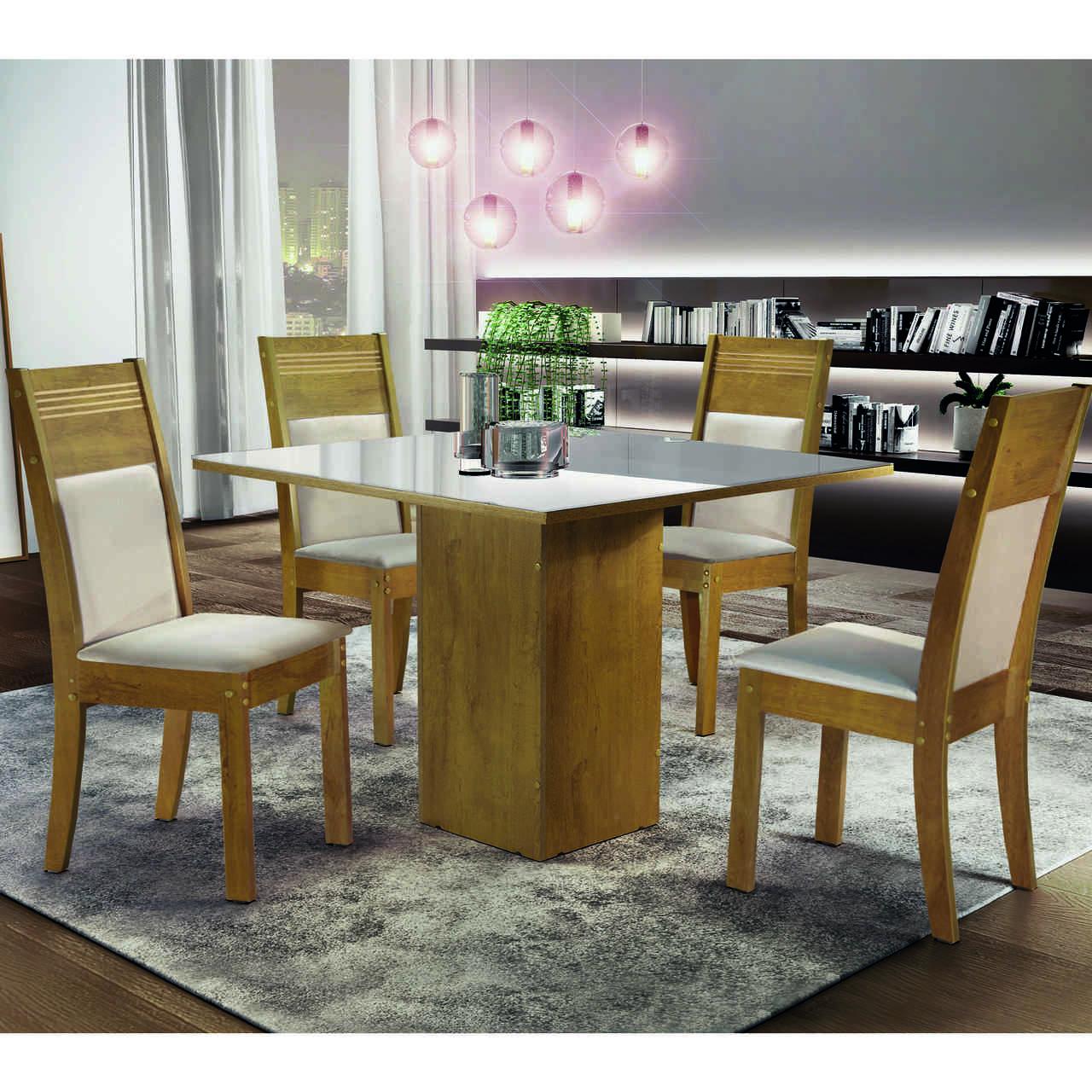 Sala de Jantar Dakota com 4 Cadeiras Ravena  Cel Móveis