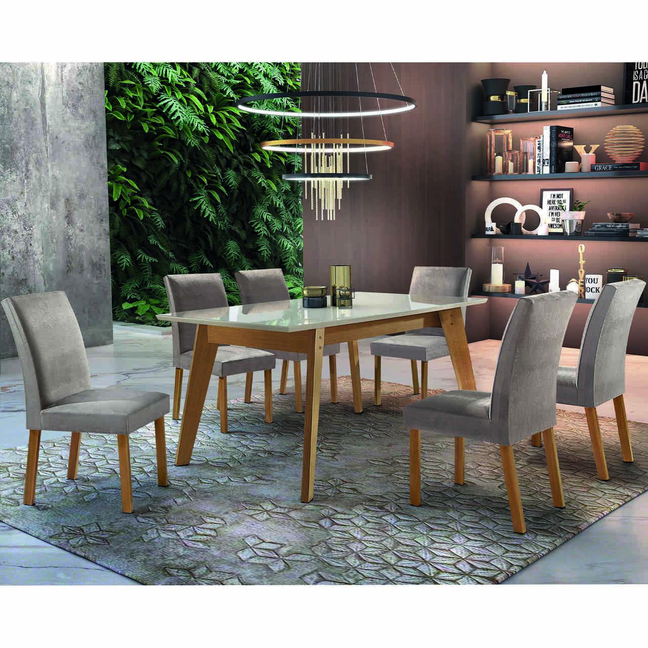Sala de Jantar Ferrara com 6 Cadeiras Arezzo  Cel Móveis
