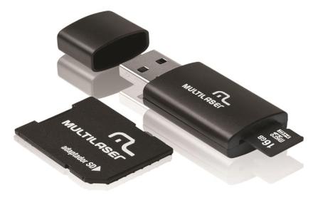 Cartão De Memória 16gb Classe 10 Com Kit Adaptador Multilase