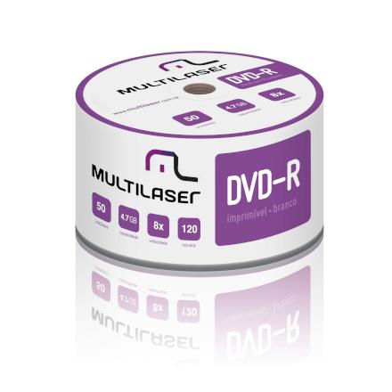 DVD-R Imprimível 4.7GB 8x Shrink c/ 50 unid Multilaser - DV0
