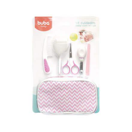 Kit Higiene Cuidados para Bebê com Estojo Branco Rosa Buba