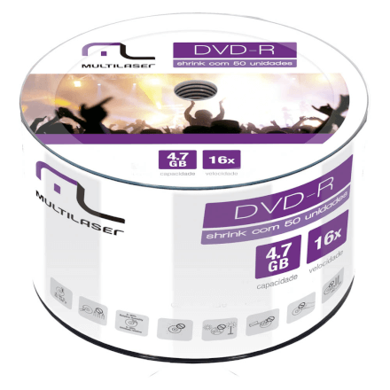 Midia DVD-R 4.7GB 16X com 50 Shrink Dv060/Dv061 Multilaser -