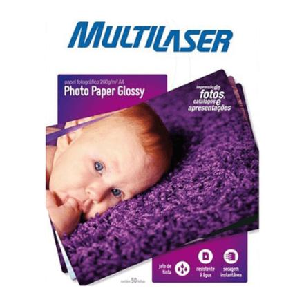 Photo Paper C/200 Gr Tam. A4 C/ 50 Fls Multilaser - PE012