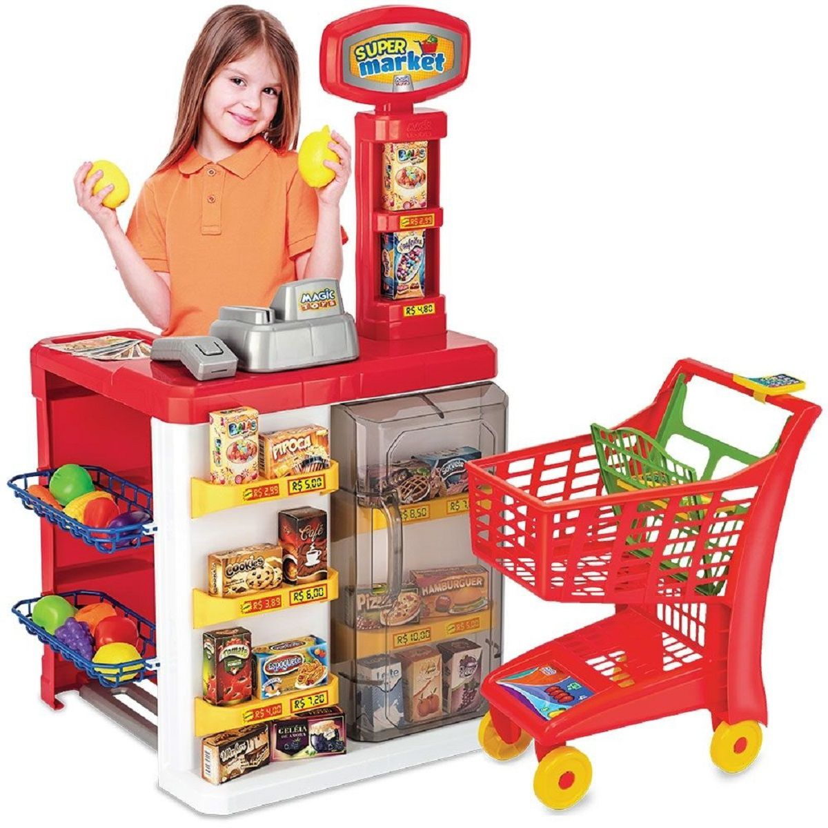 Brinquedo de Faz de Conta Super Market com Carrinho de Compras - Magic Toys