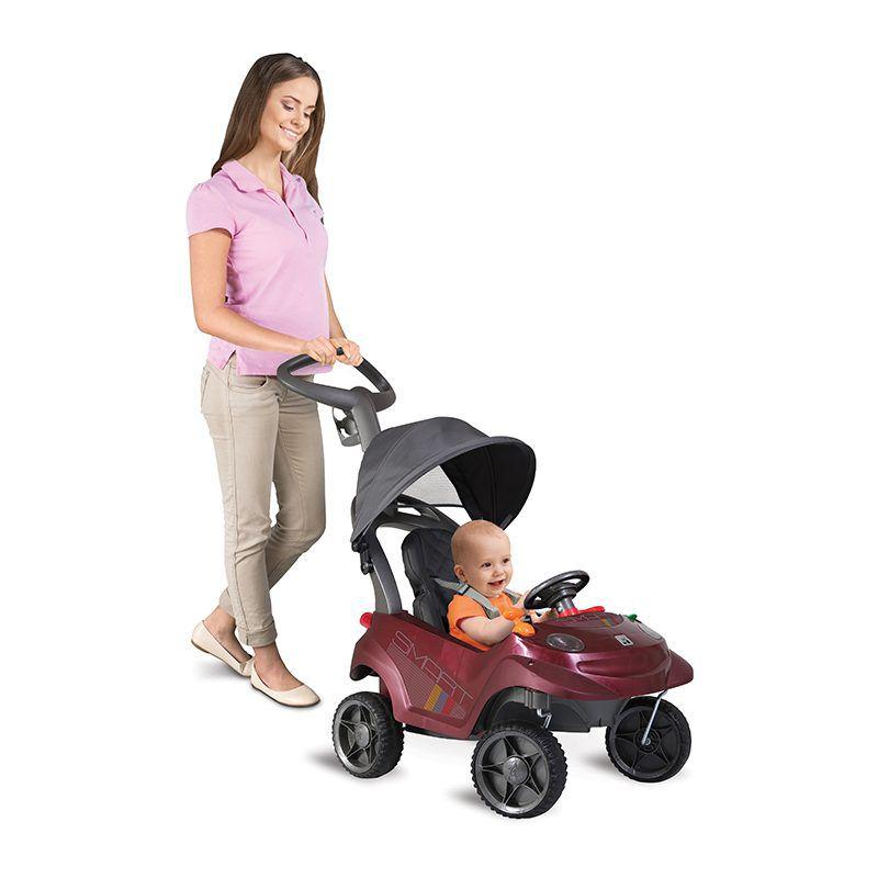 Triciclo Carrinho de Passeio Vinho - Smart Baby Comfort Bandeirante