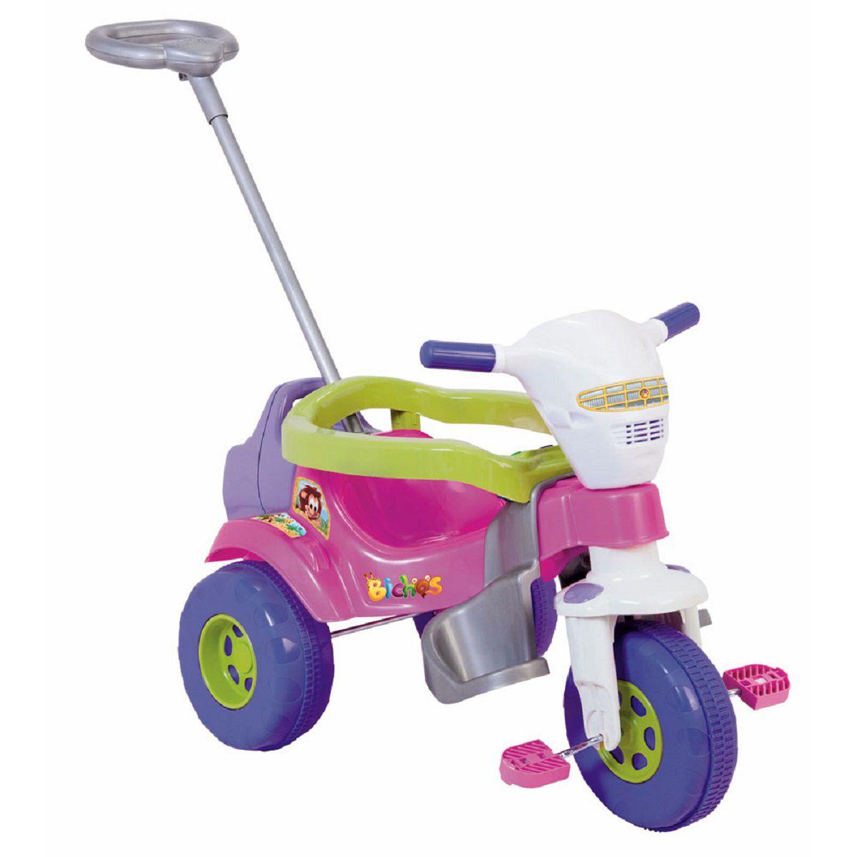 Triciclo Tico Tico Bichos com Haste Direcionável com Som - Rosa - Magic Toys