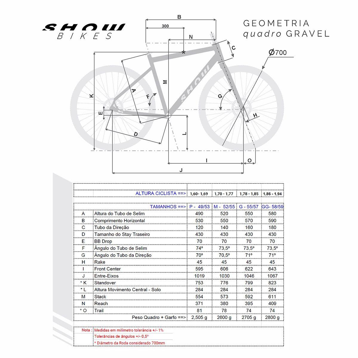 BICICLETA GRAVEL SHOW ARO 700 2020 FREIO A DISCO SHIMANO CLARIS 16 MARCHAS
