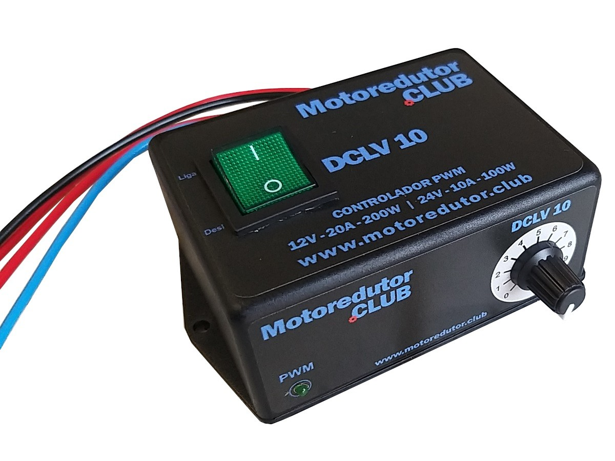 Controlador Pwm Motor CC Bivolt 12v-200w ou 24v-100w com Fusível e chave ON-OFF