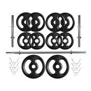 Kit Profissional 30 Kg de Anilhas + 2 Barras de 40cm + Barra de 160cm