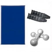 Kit Treine em Casa - Colchonete + Par de Tornozeleira 2 Kg + Par de Halteres de 2 Kg