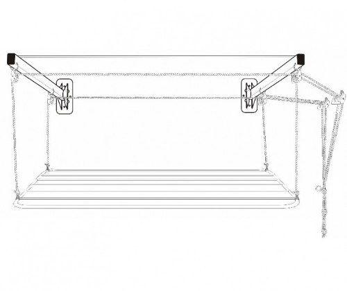 Varal de Parede Solution Em Aço 1,20m Para Tetos Frágeis - Secalux