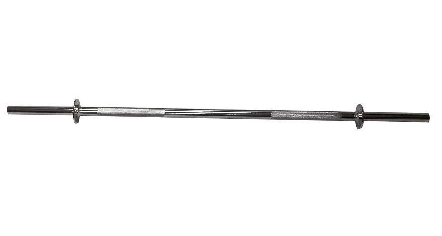 Barra Maciça Cromada com Pegada Recartilhada e Presilhas 1,20m