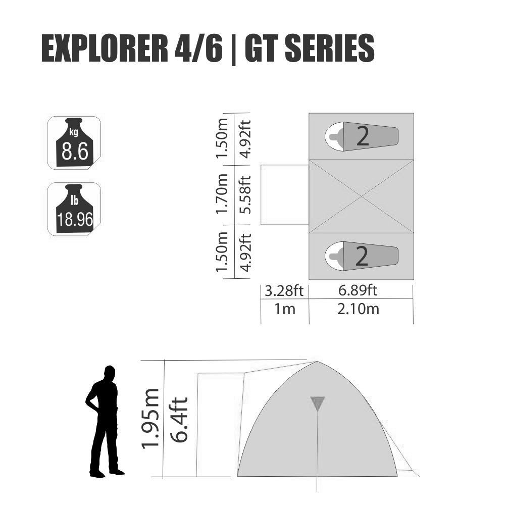 Barraca Explorer GT 4/6 Pessoas Nautika