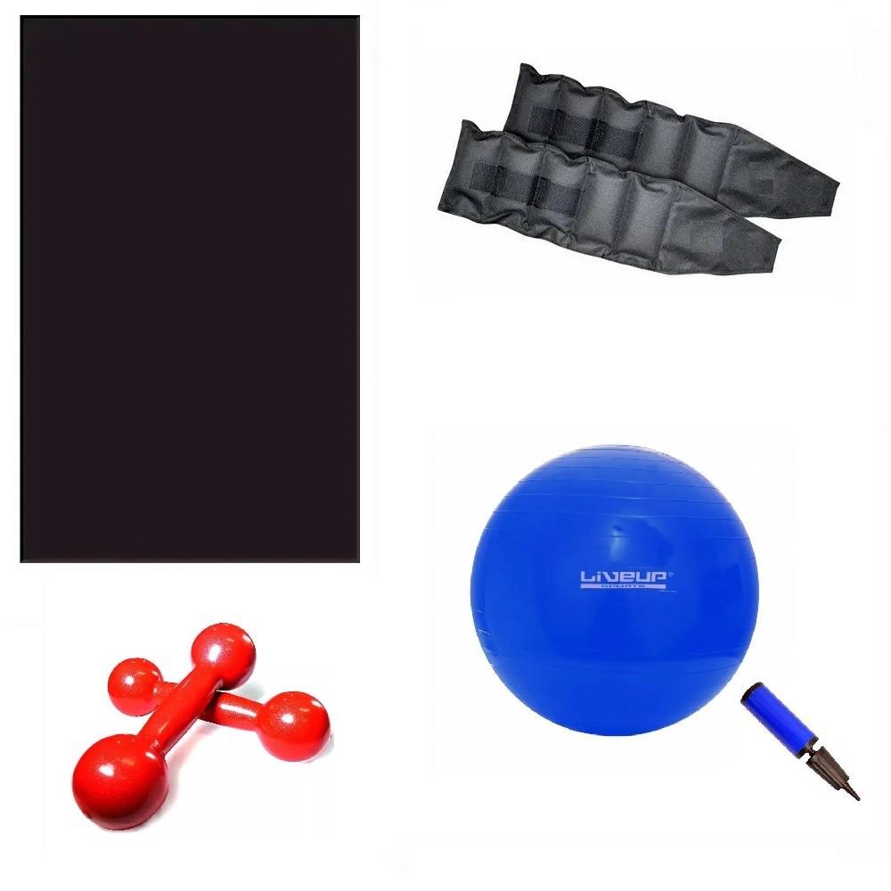Kit Colchonete + Bola Para Pilates + Par de Tornozeleira 1 Kg + Par de Halteres Revestidos de 1 Kg