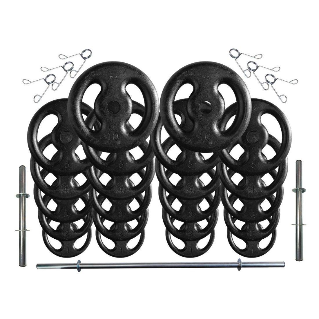 Kit com 80 Kg de Anilhas Ferro Fundido + Barras de Supino e Halteres