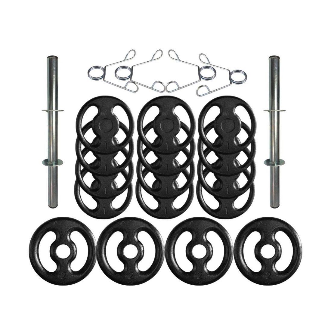 Kit com Barras de Halteres e Anilhas de Ferro - 22 Peças