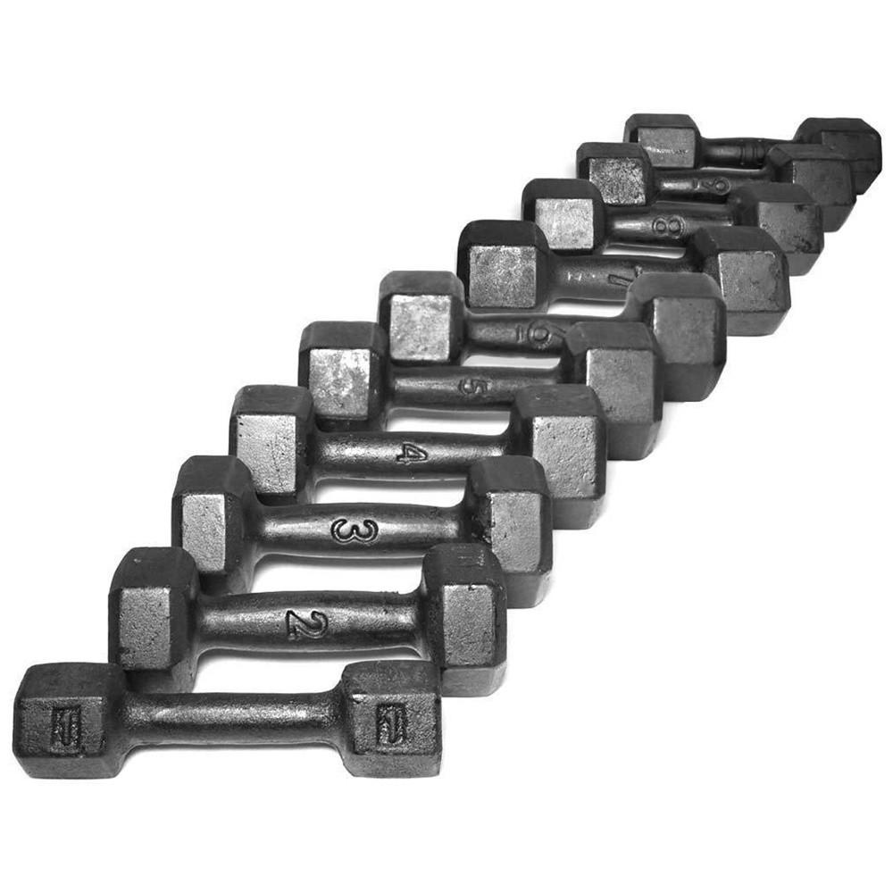 Kit de Halter Sextavado de Ferro Fundido Pintado - Pares de 1 a 10 Kg