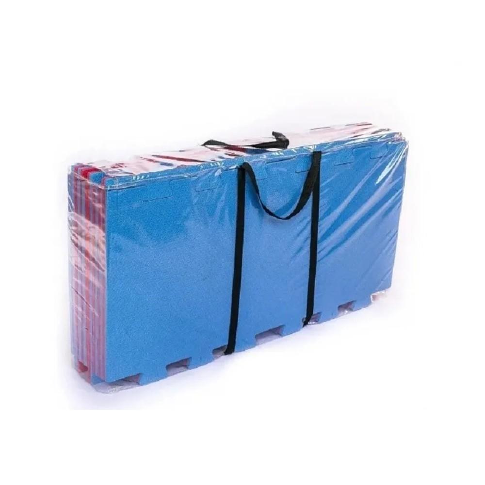 Kit Home Tatames EVA 100x50cm - 20mm - 8 Peças + Bordas - Azul e Vermelho