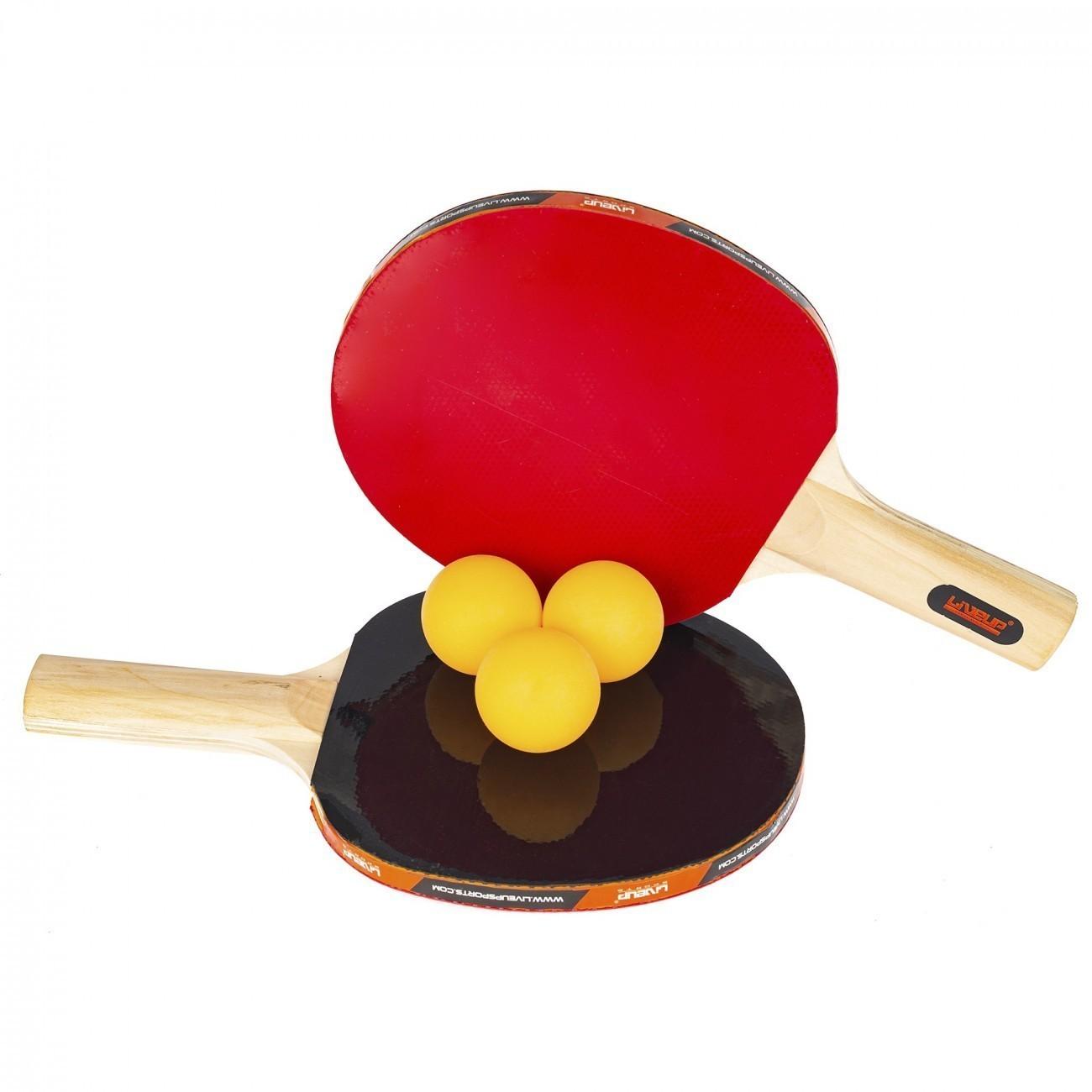 Kit Ping Pong - 2 Raquetes e 3 Bolinhas - LiveUp