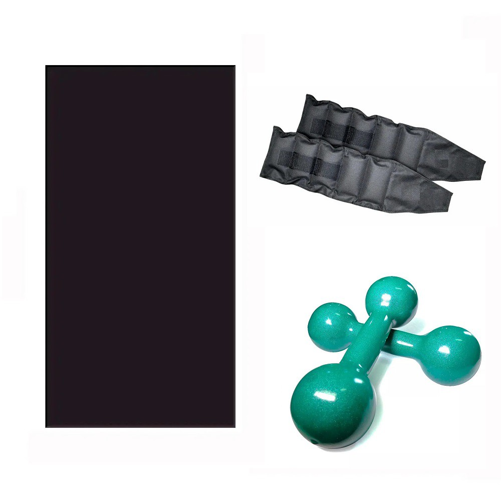Kit Treine em Casa - Colchonete + Par de Tornozeleira 3 Kg + Par de Halteres de 3 Kg