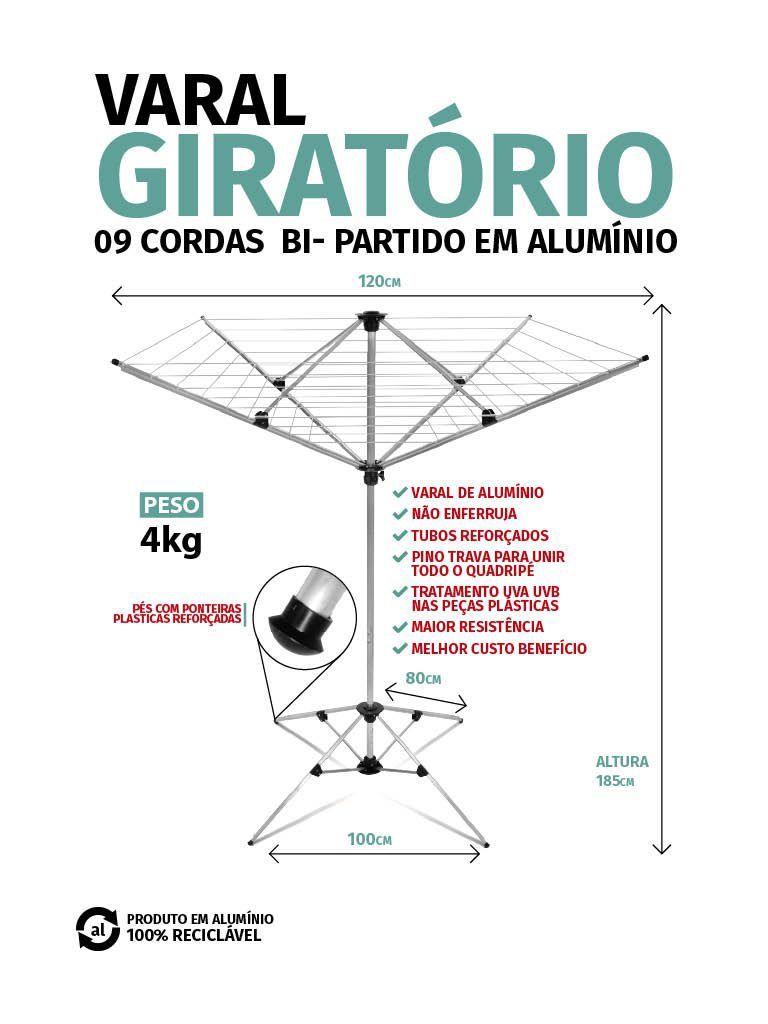 Varal Giratório em Alumínio Bi-Partido 09 Cordas