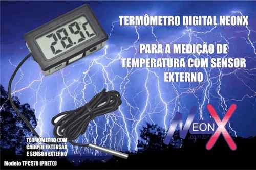 Termômetro Digital Aquário Freezer Chocadeira Ambiente Preto