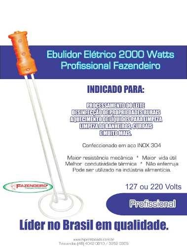 Ebulidor Elétrico Profissional 2000 Watts Inmetro