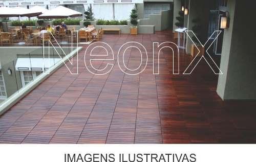 14 Un. Deck De Madeira Modular Base 50x50 Cm Acabamento Lixado Neonx