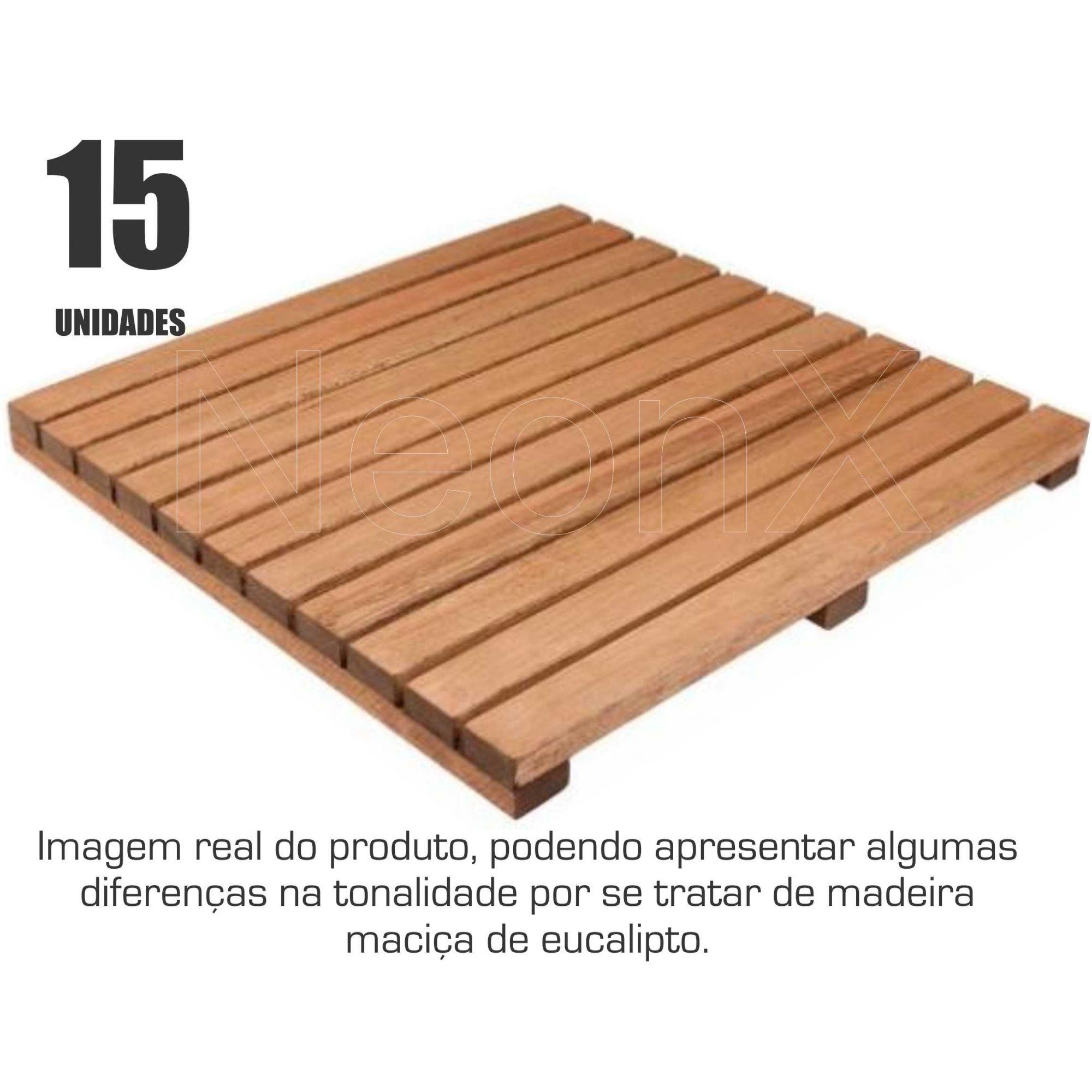 15 Un. Deck De Madeira Modular Base 50x50 Cm Acabamento Lixado Neonx