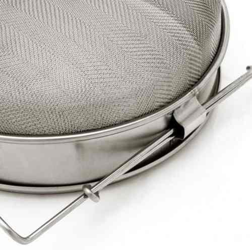 Coador Inox P/ Coar Mel Dupla Peneira 24cm Suporte P/ Balde