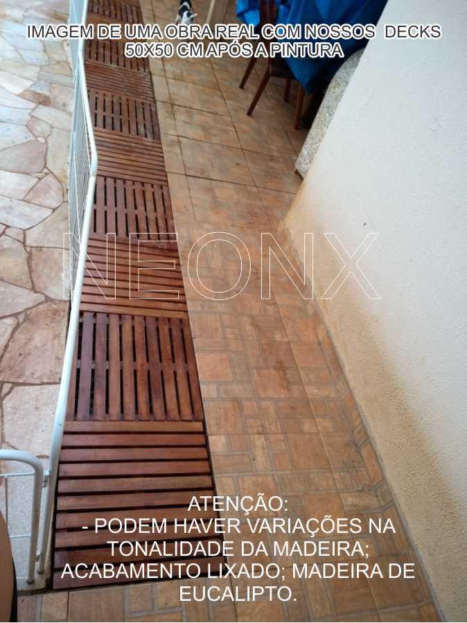 17 Un. Deck De Madeira Modular Base 50x50 Cm Pintado Osmocolor ou Verniz Neonx