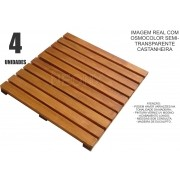 4 Un. Deck De Madeira Modular Base 50x50 Cm Pintado Osmocolor ou Verniz Neonx