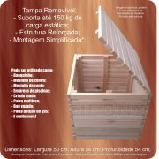 Caixa Multiuso Em Madeira 50x54x54 cm Eucalipto NeonX