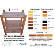 Estante Modular 3 Prateleiras Madeira Maciça 65x50x29 cm Pintada (Réguas 12 cm nas prateleiras) NeonX