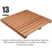 Kit 13 Un. Deck Madeira Modular Base 50x50 Cm Lixado NeonX