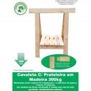 Par Cavalete C/ Prateleira de Madeira 75x80cm Pinus para Mesa Decoração Jardim sem pintura