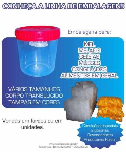 Pote Plástico 30 Un. Mel, Geléias, Alimentos, Tintas 720ml