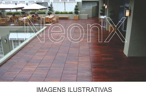 Deck De Madeira Modular Base Madeira 50x50cm Réguas 8 Cm NeonX