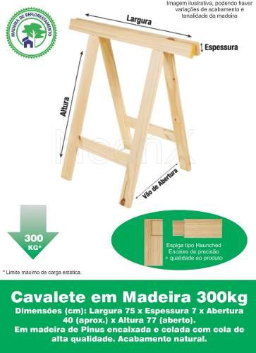 Cavalete Mesa Ou Decoração Madeira Reforçado 75x80 Cm Pinus