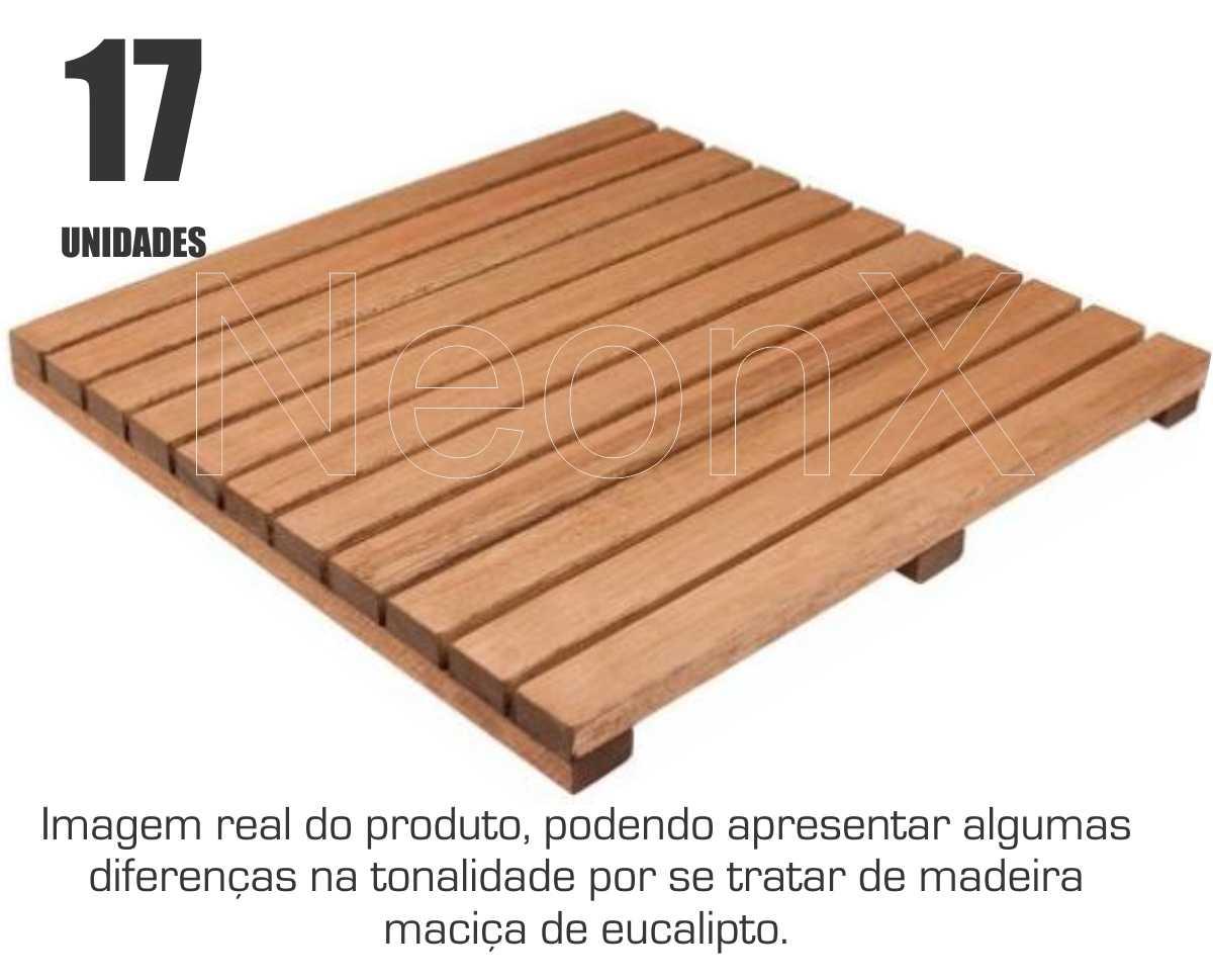Kit 17 Un Deck Madeira Modular Base 50x50 Cm Acabamento Lixado Neonx