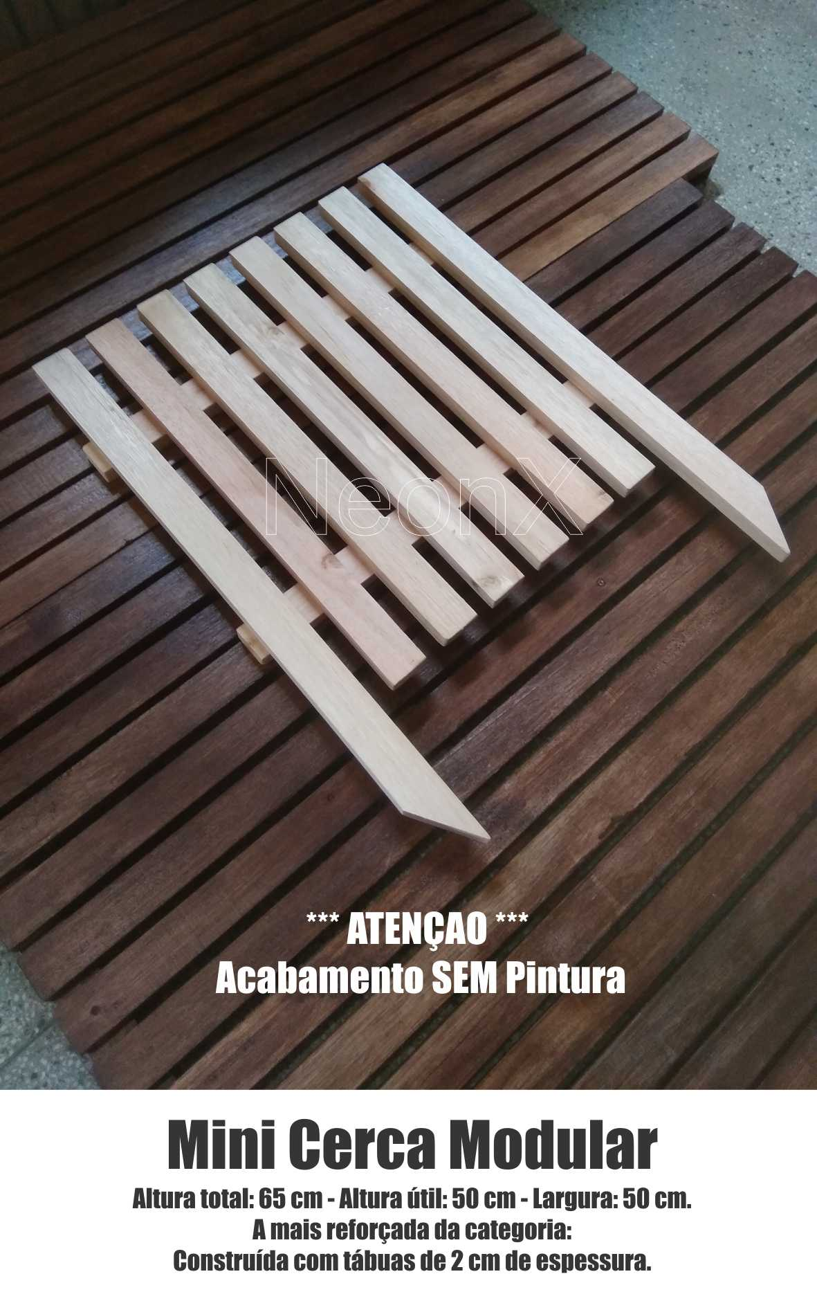 Cerca Cerquinha para Jardim, Horta ou Decoração Clássica Modular Reforçada 50x65 cm SEM Pintura Neonx