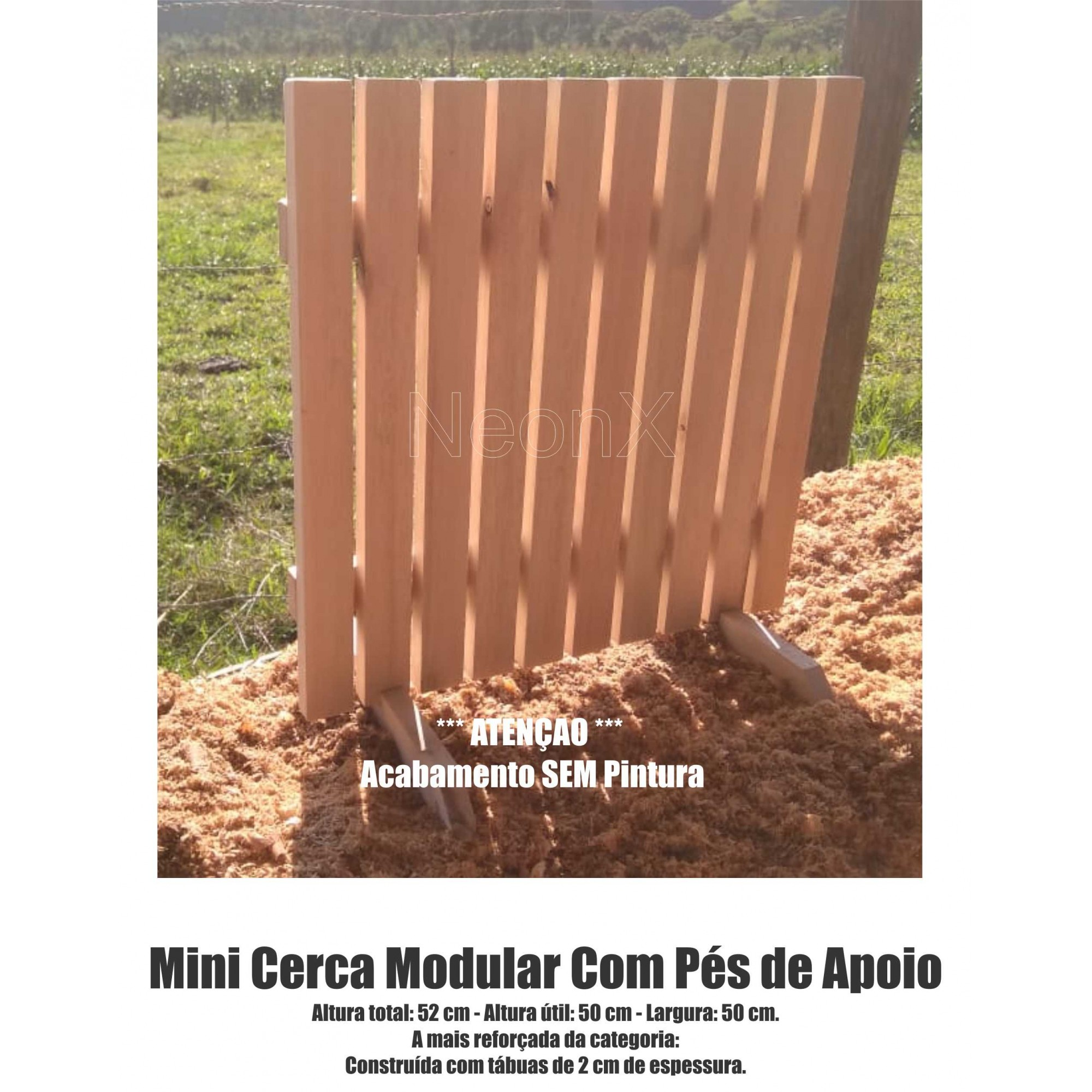 Cerca para Jardim Horta Decoração, Interna ou Externa com Pés 50x50 cm COM Pintura NeonX
