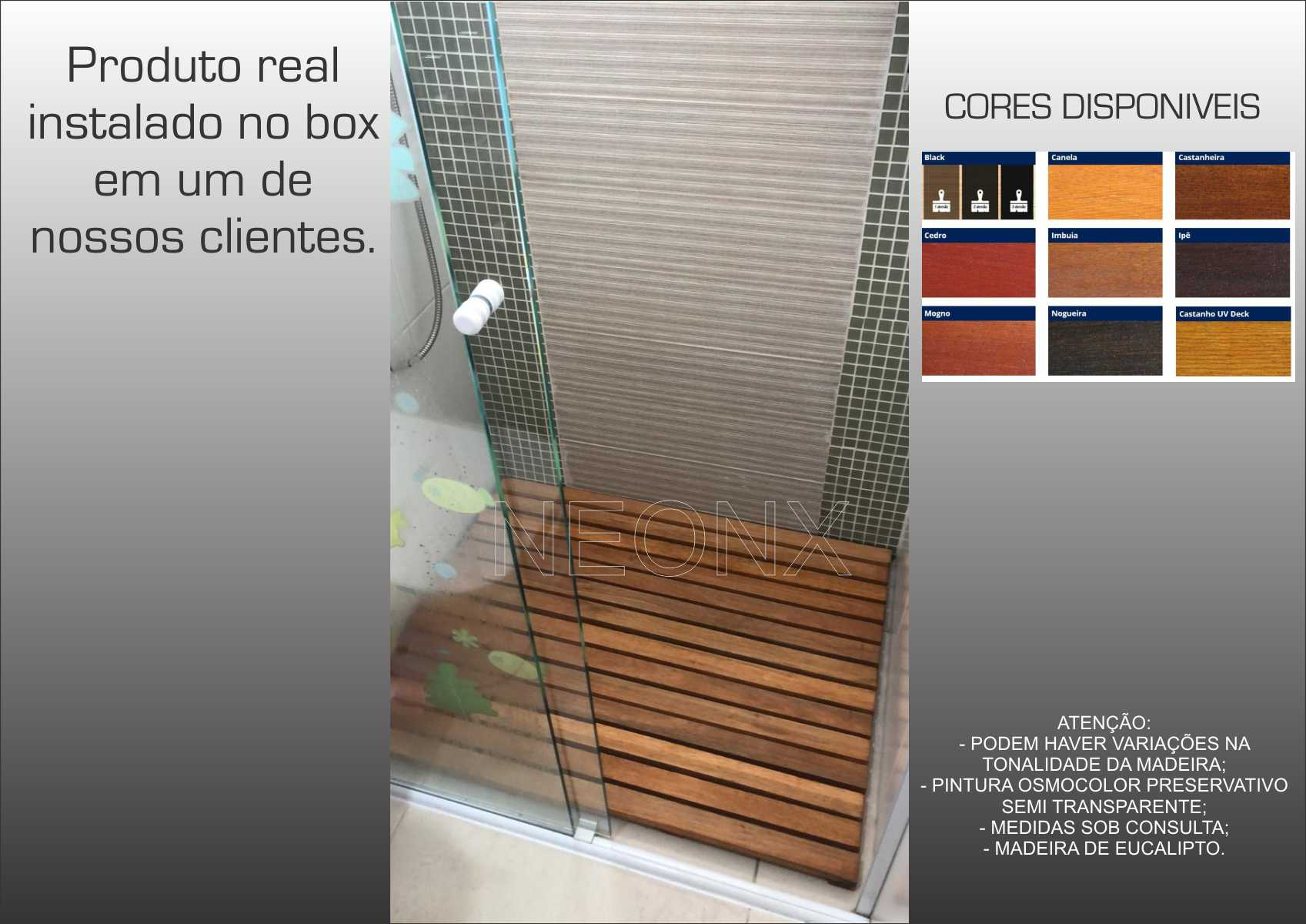 Deck De Madeira Chuveiro Box Banheiro Capacho 100x70 cm Sem Pintura Acabamento Lixado