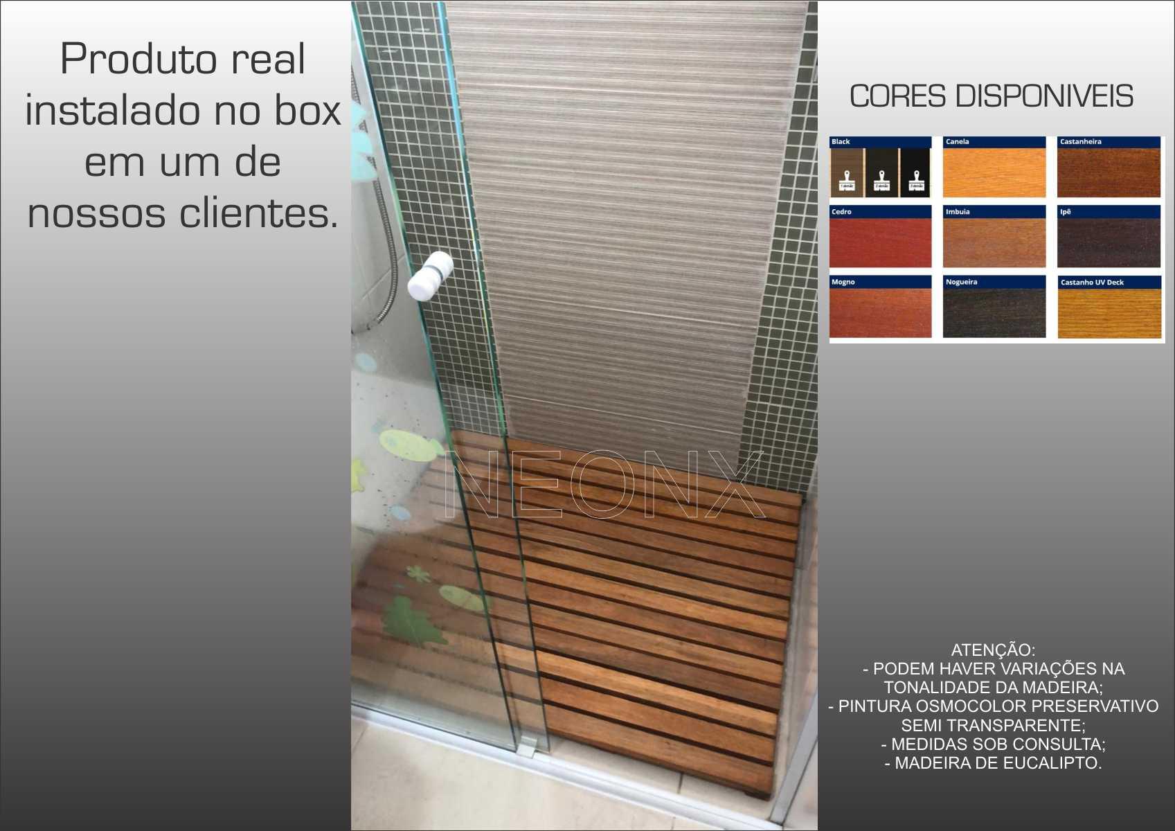 Deck De Madeira Chuveiro Box Banheiro Capacho 110x70 cm Pintado