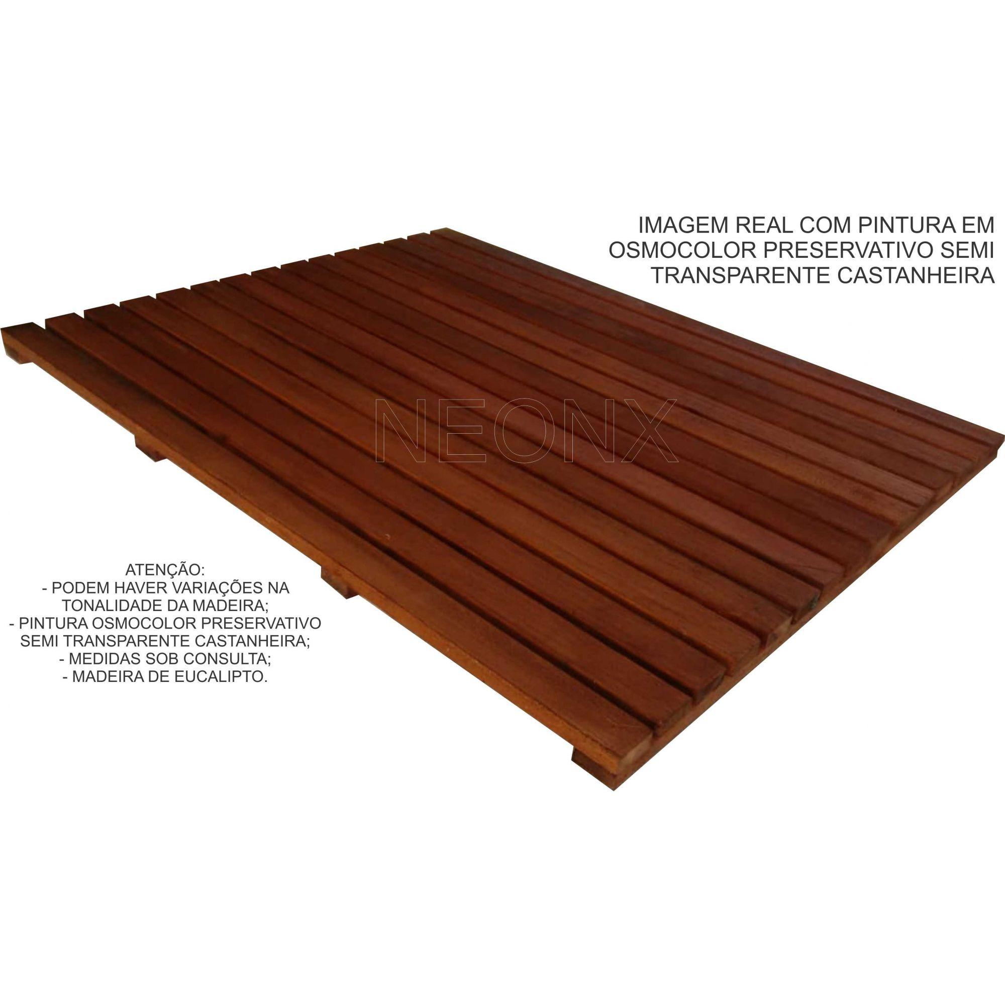 Deck De Madeira Chuveiro Box Banheiro Capacho 110x80 cm Verniz
