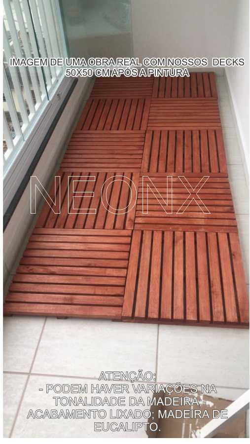 Deck De Madeira Modular 50x50cm Com Pintura Neonx