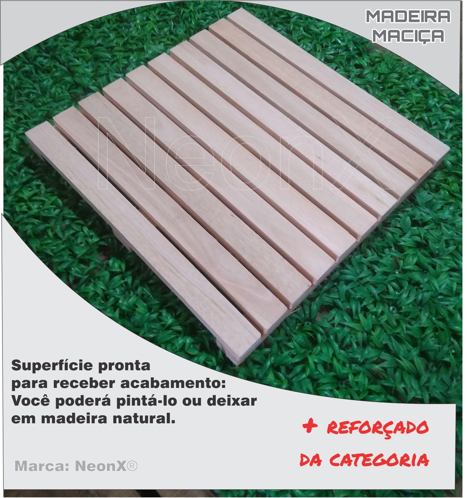 Deck De Madeira Modular 50x50cm Sem Pintura Neonx