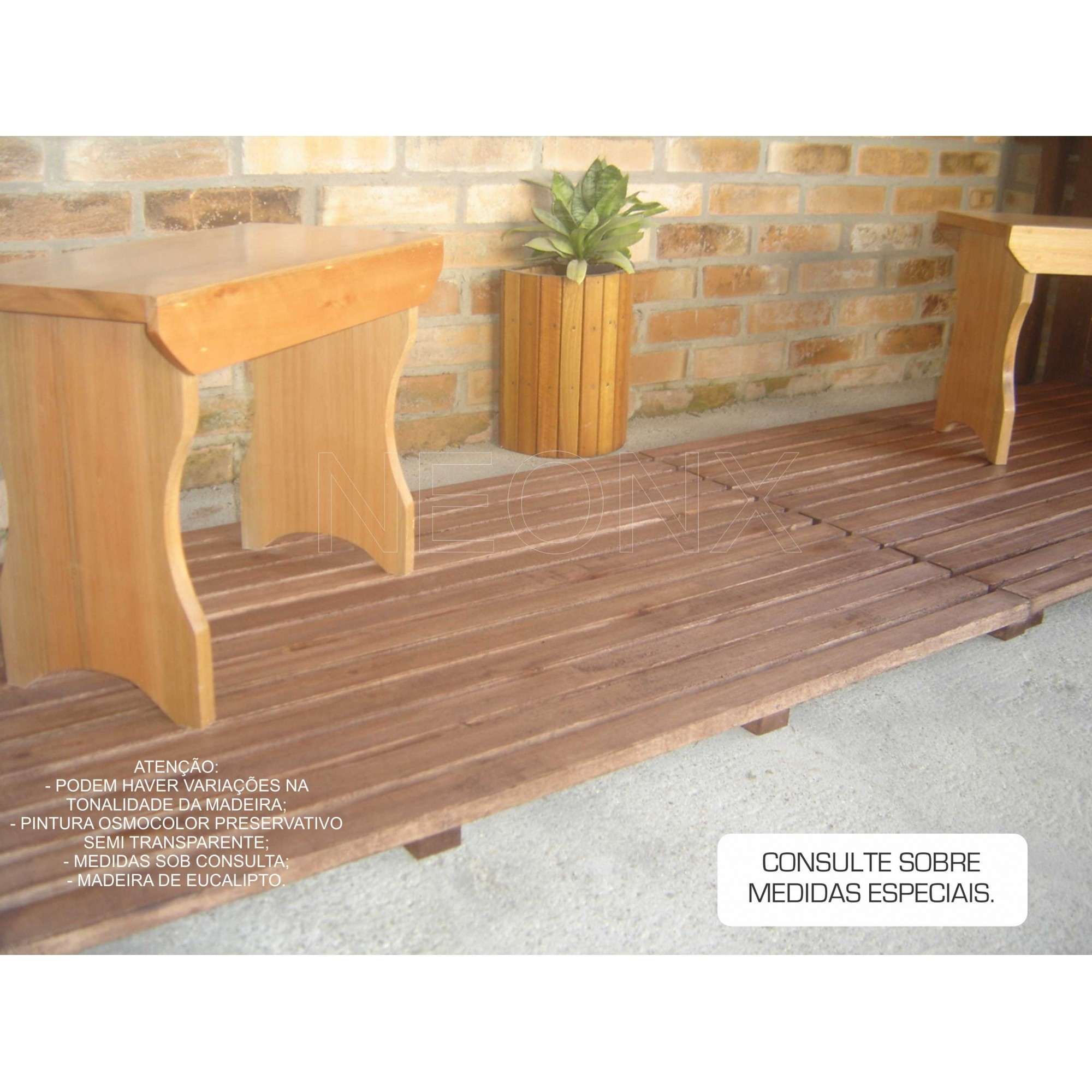 Deck De Madeira Modular 68x50cm Com Pintura Neonx
