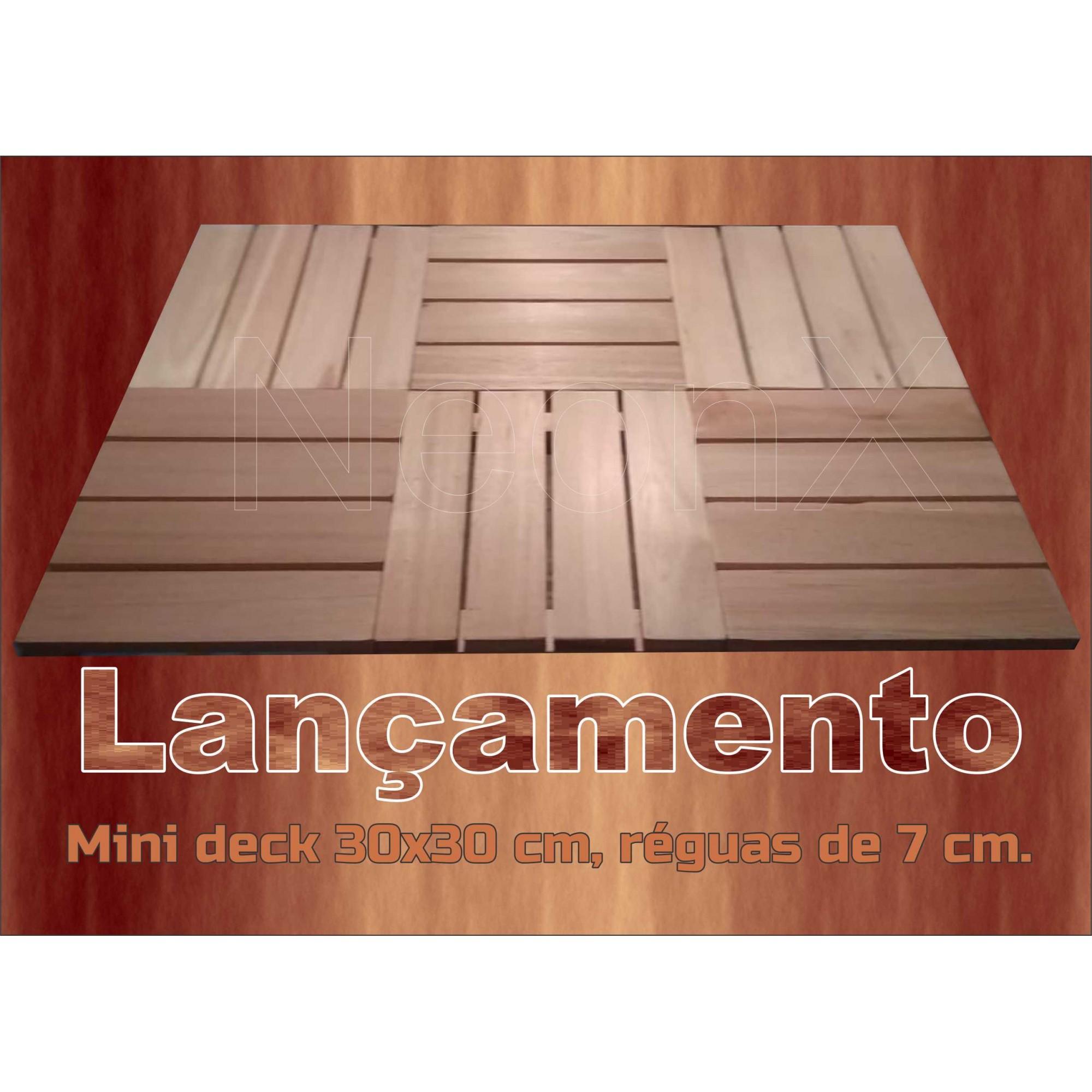 Deck Madeira Modular 30x30 Cm Réguas 7 cm Com Pintura NeonX